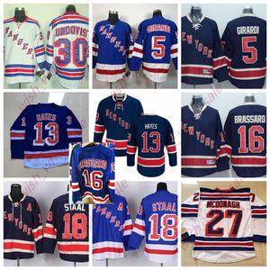 New York Rangers maglie Henrik Lundqvist Jersey Mats Zuccarello Chris Kreider cucito l'alta qualità di hockey su ghiaccio Jersey Bianco Economici dell'uomo
