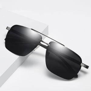 Classic Male HD Polarized Sun Glasses Fashion Half-frame Driving Sunglasses Metal Frame Driving Glasses 201902 UV400