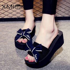 Bow Slaytlar Dış 7.2cm Yüksek Topuklar Plaj Bayan Terlik 4 Renk 7140W ile XMISTUO Yaz Kadın takozlar Sandalet Terlik