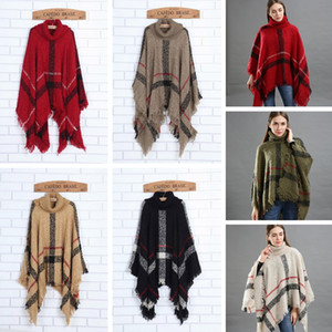 Fashion Woman Plaid Cloak Lady Grid Poncho Sweater Wraps Vintage Shawl Cardigan Tassel Knit Scarves Tartan Winter Blankets TTA1548