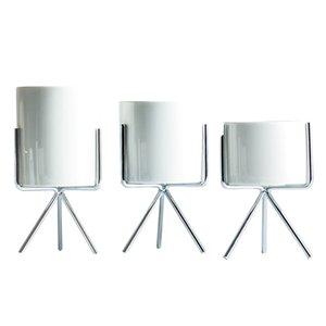 3 Jeu de Nordic style usine Stand avec Flower Pot Succulent Planteur Porte-rack y compris la plantation blanc Pot