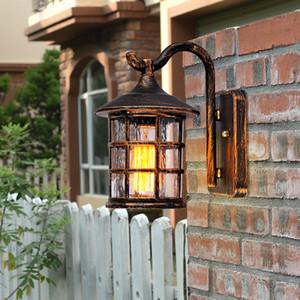 Rustik Demir Su geçirmez LED Açık Duvar Lambası Vintage Gazyağı Fener Sokak Işık Endüstriyel Sıva Üstü Aplik Bar Kahve