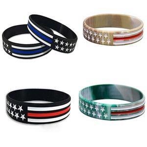 US-Wahl Trump-Handgelenk-Band US Blau Red Line American Flag Polizei-Silikon-Armband-Handgelenk-Band