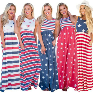 Lady Beach Maxikleid Stars Striped Printed Waist Elastic Pocket Ärmellose Weste American Flag Independence Day Patchwork Plus Sommerkleid
