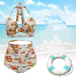 Zu plus Größe Weiblicher Lässige Kleidung Blumen 2Pcs Frauen-Sommer-Designer Bikini Sexy Fashion Backless