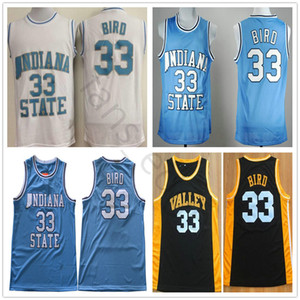 NCAA Indiana State Sycamores Larry # 33 Blue Bird College Basketball New Jersey Valley High School Larry 33 oiseaux Cousu Jersey Noir