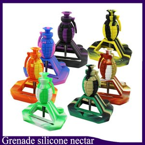 New design Grenade water smoking pipe silicone Nectar Collector kits with 14mm Joint with GR2 Titanium Nails Silicone Caps Oil Rigs
