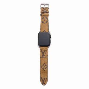 애플 시계 밴드 42mm의 38mm 40mm의 44mm의 iwatch을위한 선물 브랜드 가죽 시계 줄 1 개 2 345 밴드 가죽 스트랩 팔찌 패션 줄무늬 A14