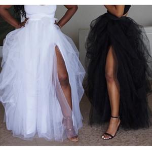 Mode féminine Maxi Tull Jupe irrégulière élastique taille haute plage blanche avant de Split dames Jupes Parti Clubwear Tutu Jupe Faldas Mujer Saias