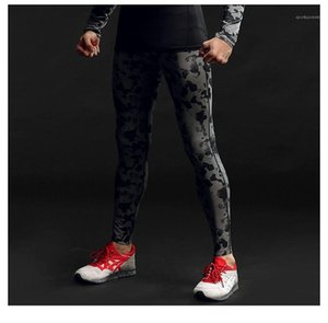 Skinny Elastic Waist Pants Mens Slim Running Trousers Mens Sport camouflage Print Pants Mid Waist Designer