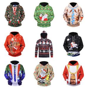 Unisex 3D Print Christmas Hooded Sweatshirt Pullover Cappotto Felpa con cappuccio maniche lunghe Con tasche Tasche Xmas Home Abbigliamento HH7-1919