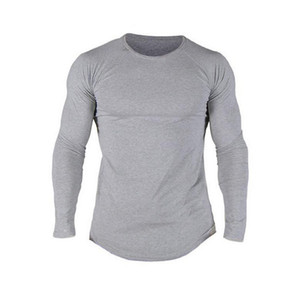 Manica collo lungo Slim Fit O Uomo muscolare Hipster Casual Tops Blouse di Hip Hop di base curvo Hem shirt Autunno Plus Size 2XL