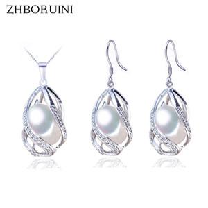 Zhboruini Set di gioielli in argento 925 gioielli in argento naturale perle di perle d'acqua dolce collana gabbia orecchino set per le donne regalo T190626