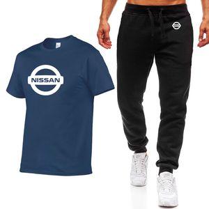 2020 new Summer Men's Suit Nissan Car Cotton Mens T-Shirt suits Simple atmosphere Crew neck Men's T-Shirt+Pants Suit 2Pcs