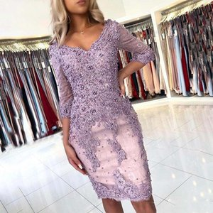Elegant lilac Beaded Sheath Lace luxury short prom Dresses backless V Neck 3 4 Sleeves knee length Appliqued Evening Gowns Plus Size