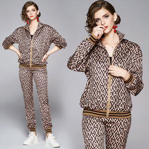 2020 kadın zarif iki parçalı pantolon uzun kollu baskılı pist ceketler ceket + uzun pantolon 2 adet ince lüks bayanlar tasarımcı iki parça setleri