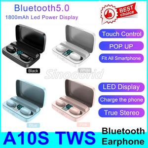 A10S macaron TWS écouteurs bluetooth casque affichage led jeu automatique Jumelage intra-auriculaires avec charge de cas