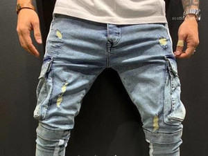 Pantaloni Zipper Fitness Mens tendenza di stile del cotone dei vestiti pantaloni Mens Cargo Pants Pocket rappezzatura di modo Hole