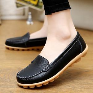 scarpe pattini di cuoio genuini donna morbida in barca per le scarpe donne degli appartamenti di dimensioni Big 35-44 signore Mocassini antiscivolo robusta Sole T200111