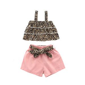 Yaz Bebek kız parsı kıyafetler çocuk leopar katmanlı saçak tankı üstleri + kemer pembe şort 2 adet çocuk gündelik setleri fiyonklar A3081