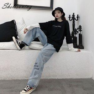 Shellsuning Vintage Geniş Bacak Jeans Kadınlar Leisure Yüksek Bel Gevşek Harf Pantolon Kadın Streetwear Basit Tam uzunlukta Harajuku