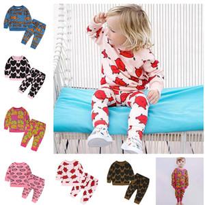 INS Kindermode Frühjahr Herbst Hoodies 2-teiliges Set Langarm-Sweatshirt Strickjacke + Hosen-Hose Anzug-Jungen-Mädchen-Klage-Kleidung 80-110