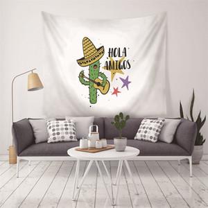 Fondo de la pared paño colgante de Europa del Norte Planta de medición Caja de tela arte mural de gobelino Cactus impresión Tapices decorativos