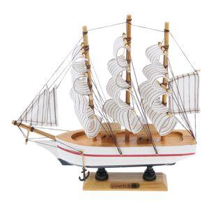 Style méditerranéen main modèle en bois Voilier Décor Bateau Cadeaux 21cm