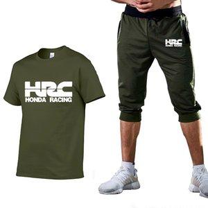 HRC-Rennen Motorrad-Druck Sommer-Art und Weise beiläufige Baumwollkurzschluss-Hülsen-Qualitäts-Rundhalsausschnitt T-shirt + pants 2 Stück Klage