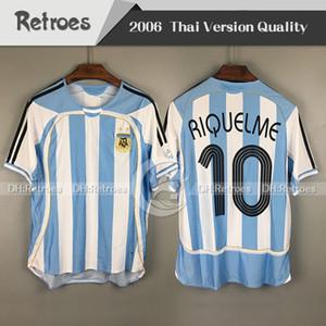 Coupe du monde 2006 argentine Maillot rétro de foot 06 Accueil Chemises Messi 19 Carlos Tevez Romain Riquelme Cambiasso Crespo Gabriel Heinze Football sh