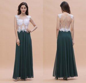 Real Foto 2020 Hunter Verde damigella d'onore Lace Abiti appliqued pura del collo Backless sera Prom Gowns