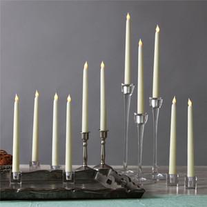 Led 11 pulgadas LED con pilas de la tabla de la boda sin llama parpadeo de Marfil Taper Vela Lámparas palillo de la vela Iglesia Room Decor 28cm