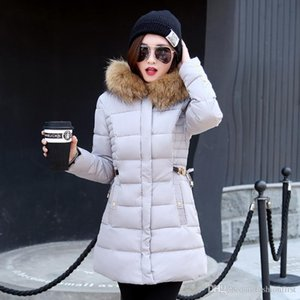 Free shipping Fashion Slim Tunic Zipper Puffer Feather Jacket Black Red Pink Gray for Women Clothing Long Down Coat with Faux Fur Hood