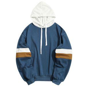 Homens camisolas dos retalhos ocasional costura barras paralelas dos homens da marca camisa suéter fino revestimento do hoodie do hip-hop véu