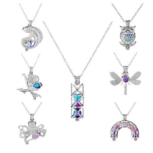 Colorful pearl cage Pendant Collane lucertola Mermaid dragonfly owl octopus Cylinder arco ponte fascino animale Per le donne Gioielli di moda
