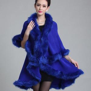 New Fashion Noble longa Lã Cashmere imitação gola de pele guarnição Brasão Mulheres Cardigan Faux Fur Poncho Xaile fz1127 cape