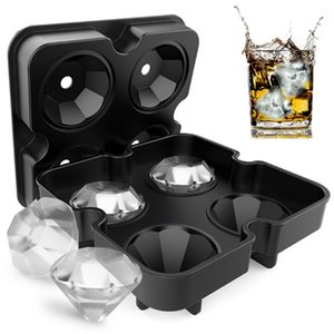 4 Cavity Diamond Shape 3D Ice Cube Mold Maker Bar Party Silicone Trays Chocolate Mold Kitchen Tool Silicone Mold
