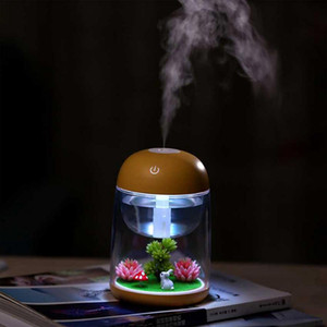 180ml Micro Landscape Humidifier Night Light Ultrasonic USB Humidifiers Mist Maker Mini Air Purifier Office Decorations RRA2824-7