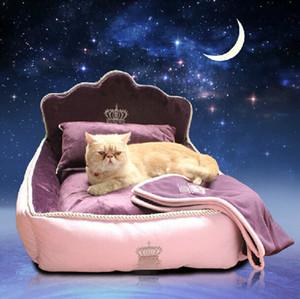 Luxo Princesa Pet Cama Com Travesseiro Cobertor Cama Do Cão da Mat Cama de Gato Sofá Casa de Cão Ninho Almofada Do Sono Canil Mascote Frete Grátis D19011506