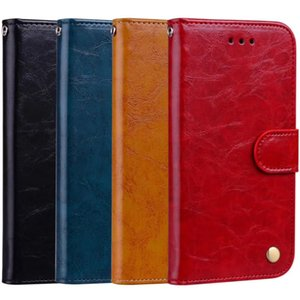 Business Style Cell Phone Case for iPhone 11ProMax Magnetic Wallet Case Card Slots Mobile Phone Stand for Samsung A10A2050 Oil Wax Pattern
