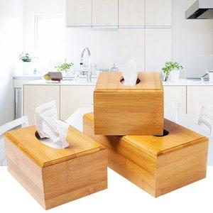 Bamboo Tissue Box Napkin Holder Hotel Restaurant Desktop Paper Storage Organizer Home Decoration
