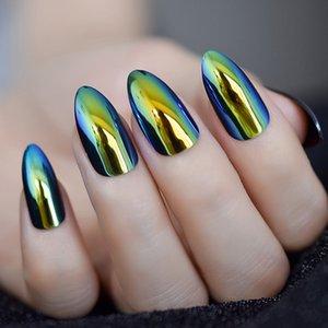Металлическое Refletive Зеркала Золотого Миндаль Ложных Nail Chrome Stilettos Sharp Металл акриловые Искусственный стилет Nail Art Советы
