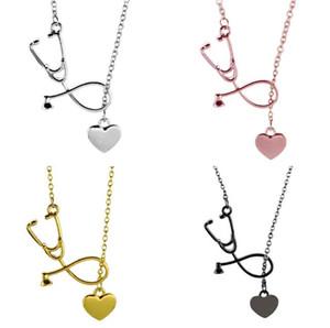 Silver Rose Gold Ley I Love You Heart Collana Ciondolo Stetoscopio medico Collana Infermiera Medico Best Friend Friendship Regalo