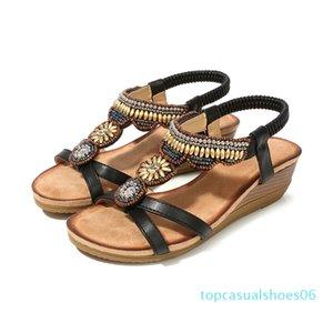 Comfort Shoes For Women Beige Heeled Sandals 2020 Women Med Large Size Summer Heels Wedge Open Toe Comfort Block Black t06