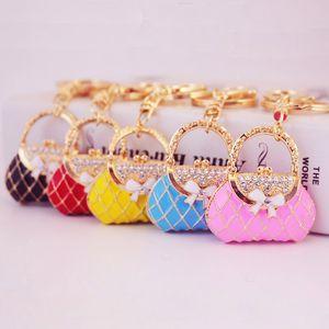 Fashion and creative colorful drops of oil paint pigment girl bag key chain handbag shape key chain metal pendant gift