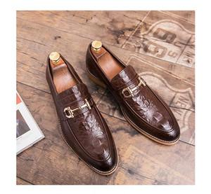 Британский стиль мужская кожаная Крокодиловая обувь классический бизнес Повседневная обувь Мода ручной работы платье квартиры обувь оксфорды