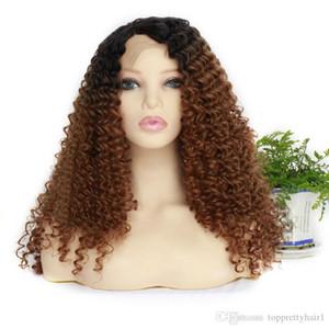 Ombre Sentetik Dantel Açık Peruk Afro Kinky Kıvırcık Isıya Dayanıklı Tutkalsız Ombre Kahverengi Uzun Afro Kinky Kıvırcık Sentetik Saç Dantel Peruk İçin Kadınlar