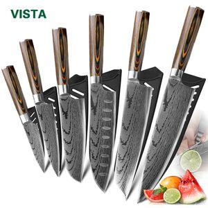 Aço inoxidável faca de cozinha Facas Chef japonês 7CR17 440C alto carbono Imitação Damasco Faca Laser lixar