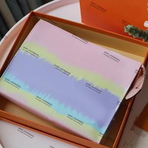 Borsa di colore rosa pastello toilette con la scatola Designer Tie Dye Designer toilette Pouch in Cosmetic Bag Tie Dye Luxury Fashion Viene fornito con scatola