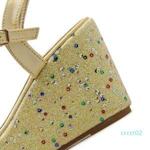 Yellow Sandals 9cm Heel Wedges Sandals Summer Beaded Rhinestone Heels Women Platform Heels Sandales Femme ct2